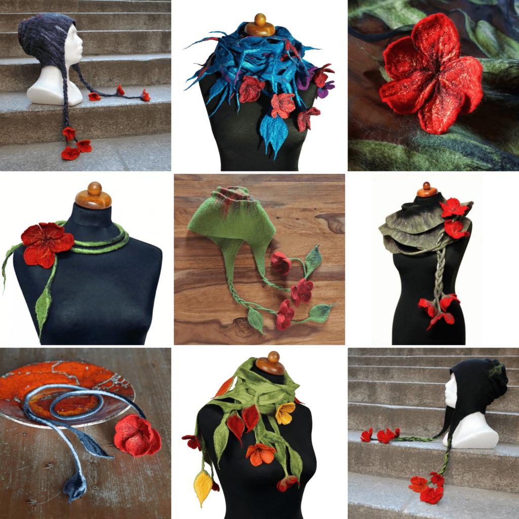 przykłady wyrobów filcowych z wykorzystaniem filcowanych na mokro kwiatów czapki filcowe, szale filcowe naszyjniki